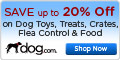20 percent off at dog.com
